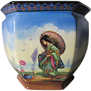 c1940s Jardiniere, Planter with Geisha Lady & Bonsai Plant