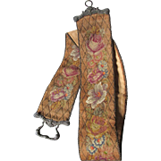 19thC Austrian Needlepoint, Petit Point Bell Pull with Bronze Fittings