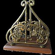 Antique English Art Nouveau Letter Holder, Desk Accessory