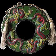 c1920s Japanese Wreath Decoration with Dragons, Original Paint