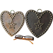 Pair Old Heart Shaped Horse Harness Tack, Western Parade Tack
