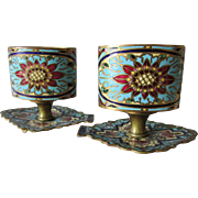 Pretty c1880 French Champlevé  Enamel Bronze Vases, Aesthetic Movement