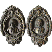 Pair Antique English Brass Architectural Ornaments, Gentleman in Powdered Wig