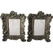 Pair Pretty Art Nouveau Picture Frames with Floral Motif