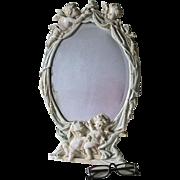 Antique Vanity Mirror, Picture Frame, Cherub Angels Hanging Curtains