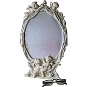 Antique Vanity Mirror, Picture Frame, Cherub Angels Hanging Curtains