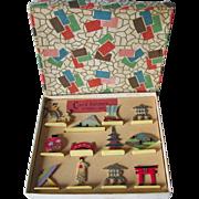 c1920s Art Deco Place Card Holders, Asian Motif, Original Box
