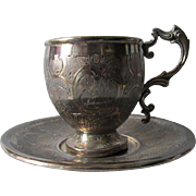 Lovely Antique c1847 French Silver Cup & Saucer with Hallmarks, LB & Minerva