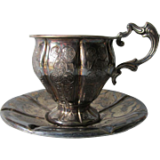 c1850 French Silver Cup & Saucer with Hallmarks, Minerva