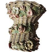 Pretty c1920s Barbola Hatpin Holder, Sewing Pincushion, Wicker with Roses