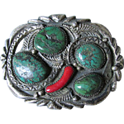 Sterling Silver Native American Indian Old Pawn Belt Buckle