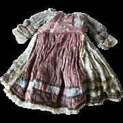 Pretty c1930 Silk Doll Dress with Metallic Lace, Elizabethan, Renaissance