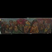 c1942 American Modernism WWII Stalingrad Oil Painting, Listed Bernard Chaet