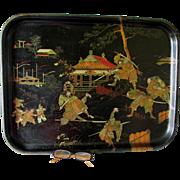 Antique 19thC Paper Mache Serving Tray with Asian Samurai Motif