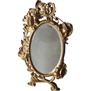 Pretty Antique Art Nouveau Beveled Glass Mirror, Picture Frame Poppy Flowers