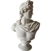 Antique Parian Porcelain Bust Apollo Belvedere, C Delpech, Greek Mythology