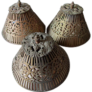 Set of 3 c1920s Pierced Metal Lamp Shades with Floral Motif, Clip On