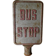 Cool Vintage Cast Iron Bus Stop Sign, Double Sided, Free Standing