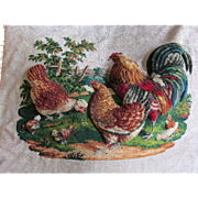 Wonderful Antique Beaded Woolwork Panel with Rooster & Chickens