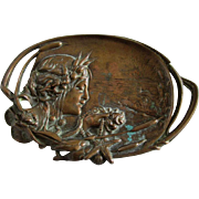 Antique Art Nouveau Bronze Calling Card Tray, Lady with Sea Shells, Heron