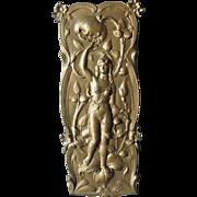 Antique Art Nouveau Plaque, Lady with Poppy Flower