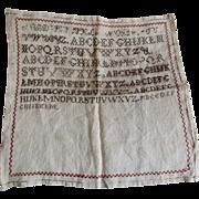 Antique 19thC Primitive Sampler, Linen Folk Art Needlework