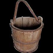 Great Old Primitive Wishing Well Bucket, Wrought Iron & Wood Bucket