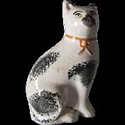 Antique 19thC Staffordshire Cat Figurine, Country, Primitive Cat