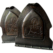 Arts & Crafts Hand Hammered Copper Bookends with Castle Motif