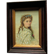Antique c1880s Watercolor Painting of a Beautiful Woman