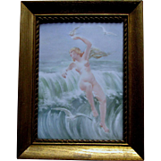 Antique Art Nouveau Hand Painted French Limoges Plaque, Nude Lady at Sea Side