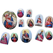 12 Tiny Austrian Miniature Porcelain Plaques, Christianity, Doll House