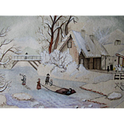 Charming 19thC Antique Folk Art Watercolor Painting, People in Village