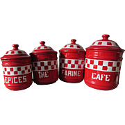 Antique Red & White Agateware, Enamelware Canister Set