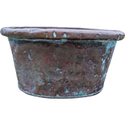 Antique 19thC Hand Made Copper Tub, Wash Tub, Primitive Basin