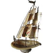 Antique Mother of Pearl Sailing Ship Sewing Thimble Holder