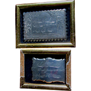Antique Coffin Plates, 1847 & 1868, Weeping Willow & Lady Mourning