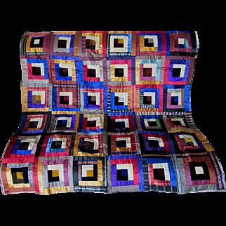 Antique 19thC Silk & Velvet Crazy Quilt Top, Unfinished VG Condition
