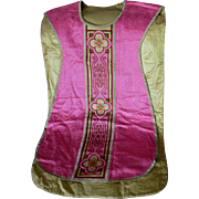 Fine Vintage Catholic Vestment, Embroidered Satin with Cross, IHS