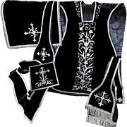 Fine Vintage Catholic Vestment Set, Velvet, Silver Metallic Lace, Boulle