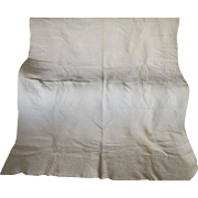 Antique White Whole Cloth Quilt, Hand Sewn, Fine Quilting Pattern