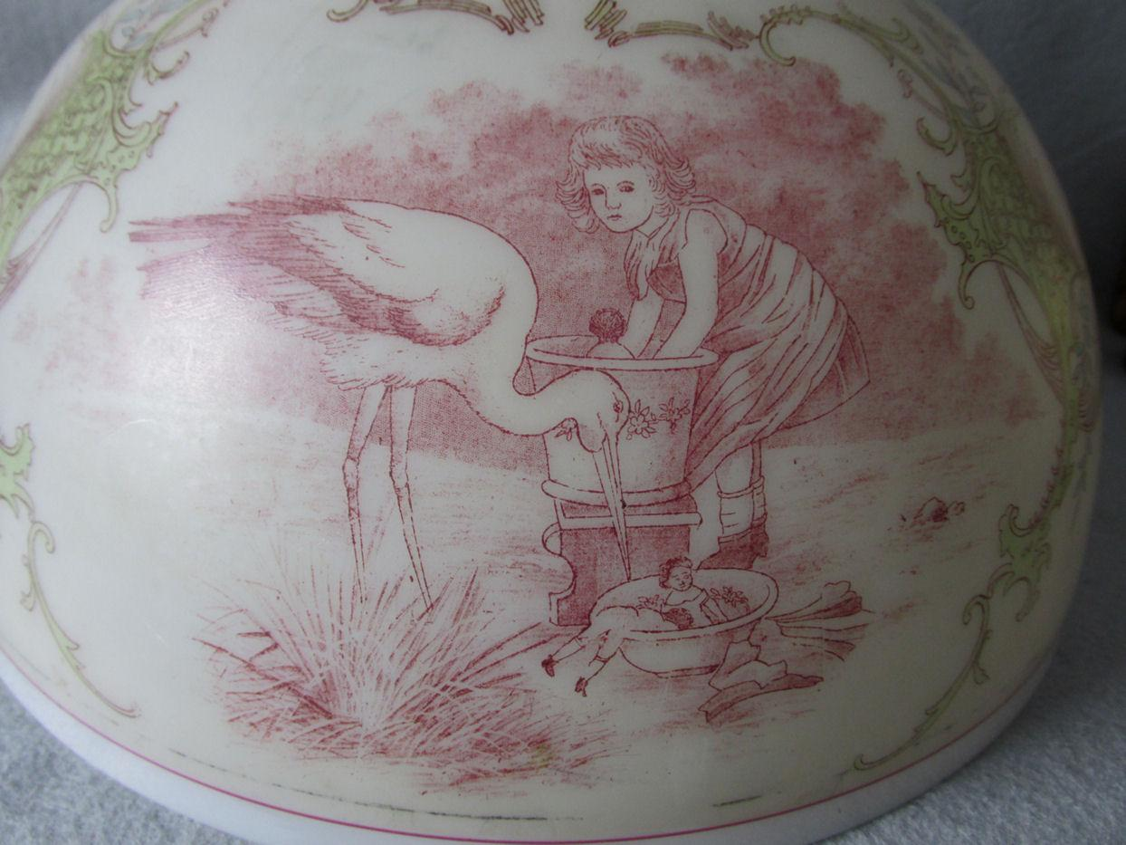 Charming Antique Glass Lamp Shade With Girl Washing Her Dolls Stork From Neatcurios On Ruby Lane