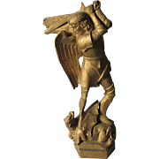Saint George Slaying the Dragon Wood Sculpture, Hand Carved