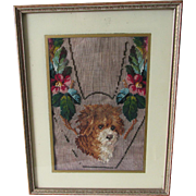 Charming 19thC Victorian Needlepoint Slipper Front with Dog