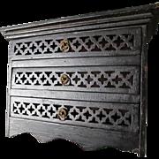 Antique Tramp Art, Folk Art Miniature Doll Dresser, Pierced Carved Drawers