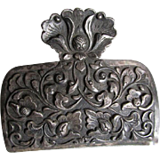 Pretty Silverplate Letter Clip, Paperclip, Persian Motif with Flowers