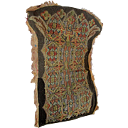 Antique Gothic Needlpoint Panel for Prayer Chair, Stained Glass Motif