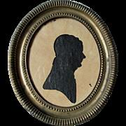 Antique  Miniature 19thC Reverse Cut Paper Silhouette in Brass Frame