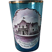 c1880s Enameled Glass, The Alamo, San Antonio, Texas Souvenir