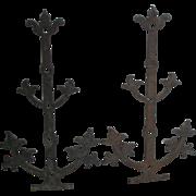 2 Large Bronze Gothic Architectural Decorative Hinges